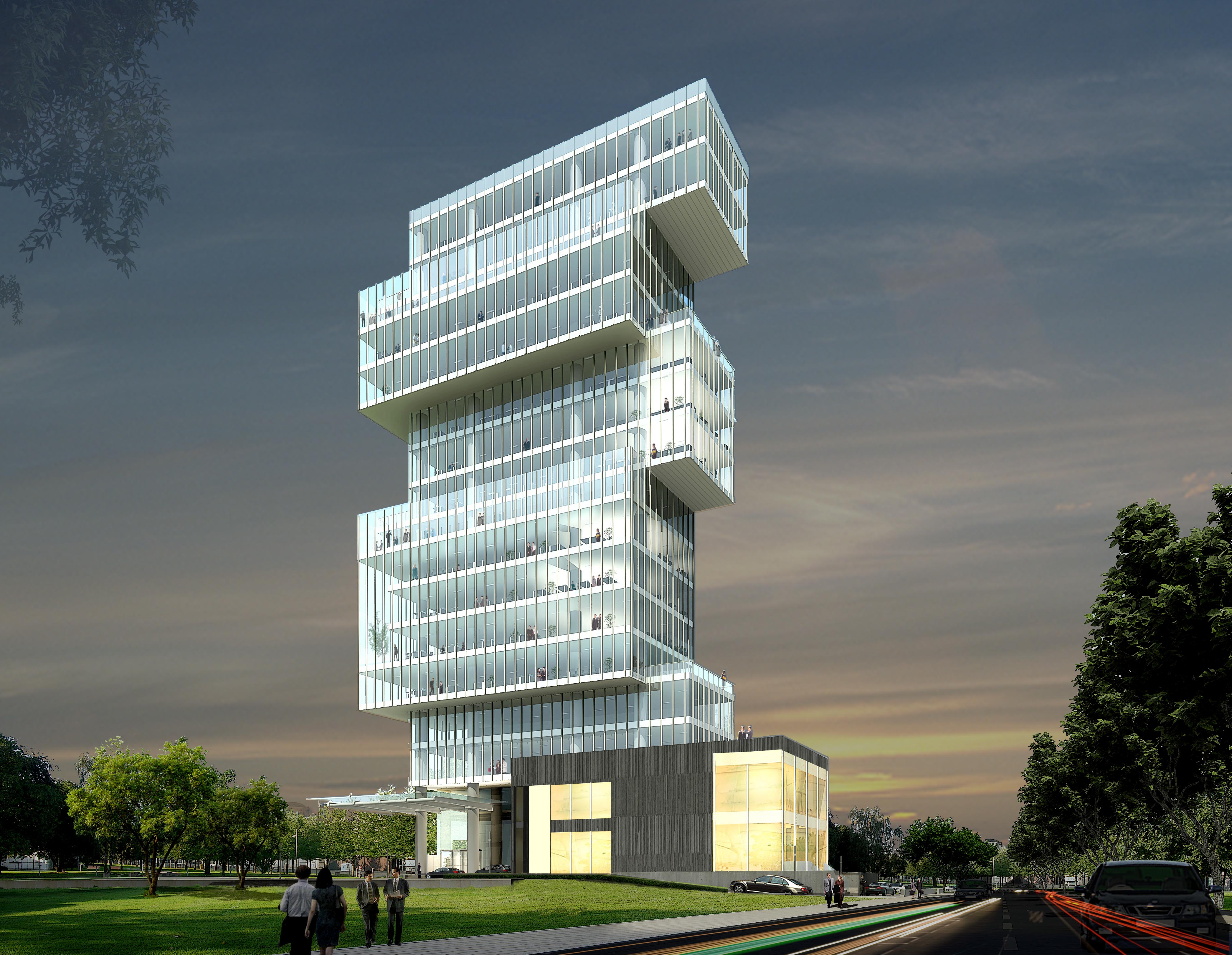 Commercial building design commercial building subhash - Asian Night Elevation View